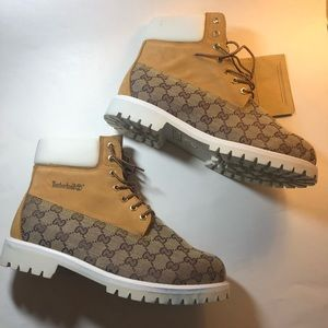 c2355a505 Timberland Shoes - Timberland Work Boots With Gucci Print NEW 12